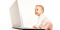baby working on a computer